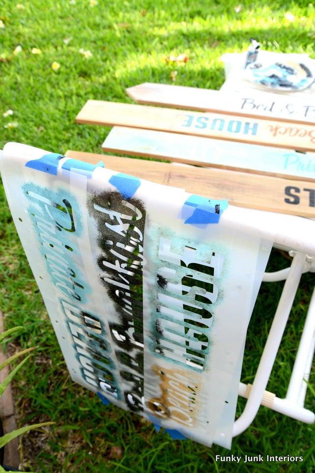 Allow stencils to dry / funkyjunkinteriors.net