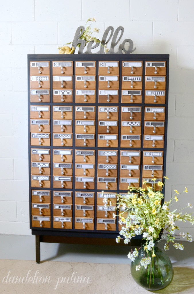 Two tone painted card catalog, by Dandelion Patina, featured on Funky Junk Interiors