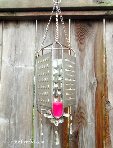 Grater candle holder, by Thrifty Rebel Vintage, featured on Funky Junk Interiors.net