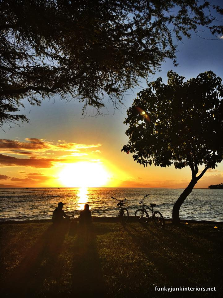 Maui sunset with bike rider silhouettes / funkyjunkinteriors.net