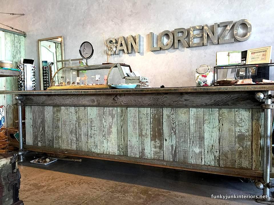 Distressed aqua reclaimed wood counter at San Lorenzo in Paia / funkyjunkinteriors.net