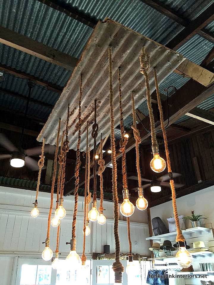 Repurposed rope and metal lights, part of a tour of store fixtures in Paia, Maui / funkyjunkinteriors.net