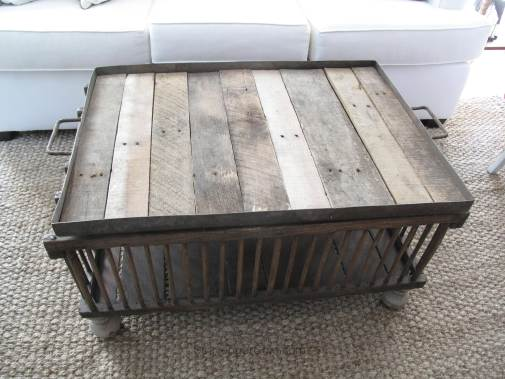 Reclaimed wood chicken coop coffee table by Scavenger Chic,  featured on Funky Junk Interiors