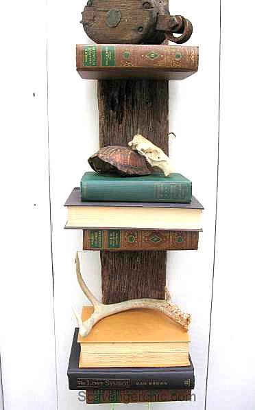 Repurposed book bookshelf by Scavenger Chic, featured on Funky Junk Interiors