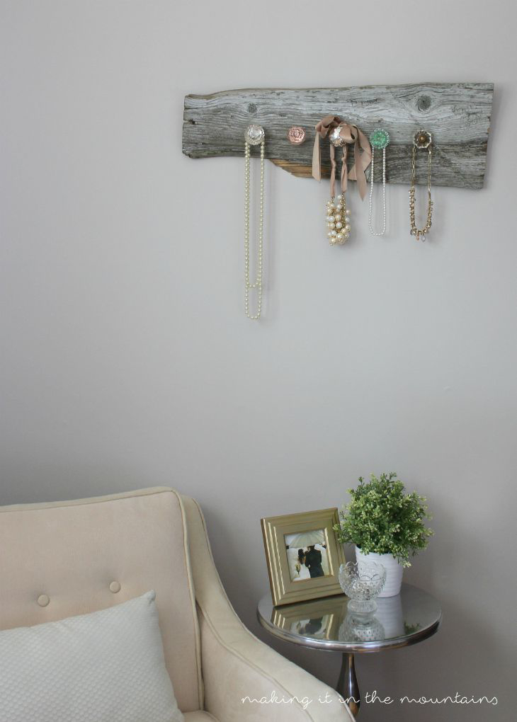 Barn wood jewelry hanger, by Making it In the Woods,  featured on Funky Junk Interiors