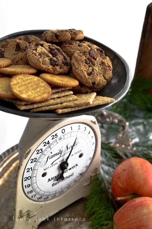 Christmas food on vintage scale  / funkyjunkinteriors.net
