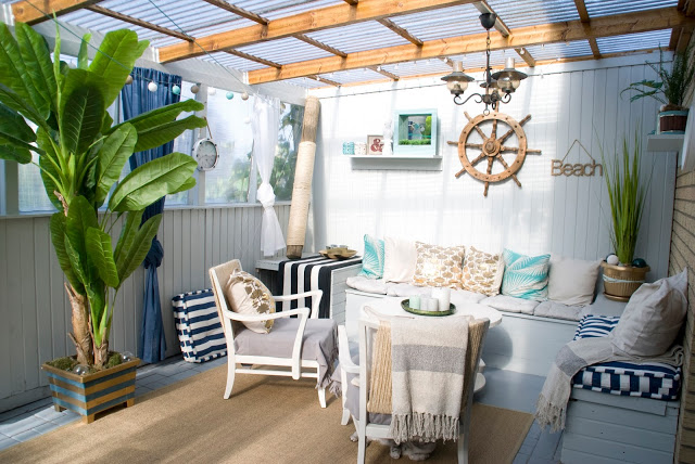 Beach styled patio reveal, by Pudel Design, featured on Funky Junk Interiors