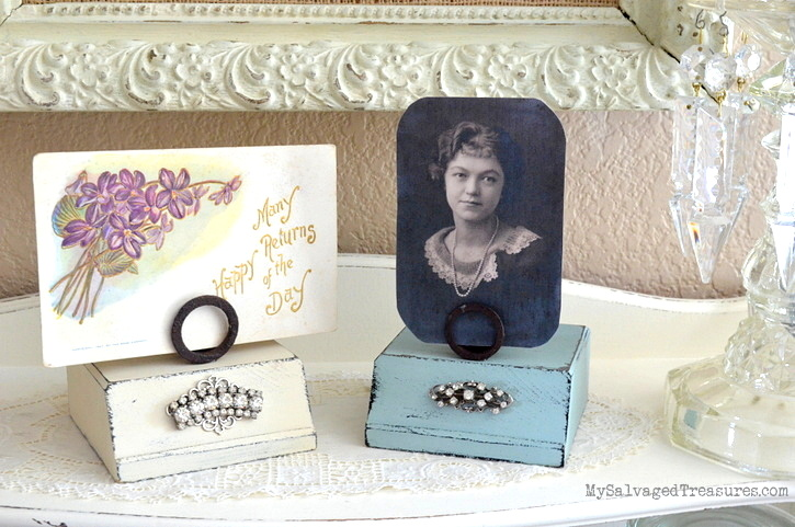 Trophy base picture or biz card holder by My Salvaged Treasures, featured on Funky Junk Interiors