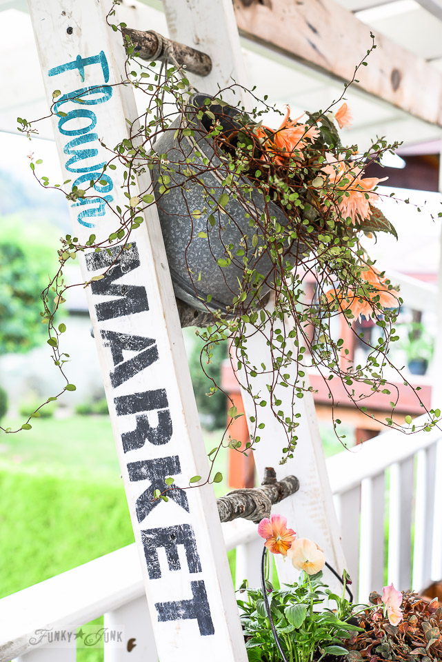 A nature inspired branch ladder plant stand / funkyjunkinteriors.net