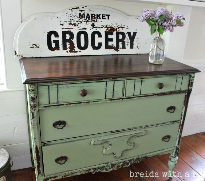 Miss Mustard Seed Milk Painted green dresser, by breida with a b, also featuring Funky Junk's Old Sign Stencils
