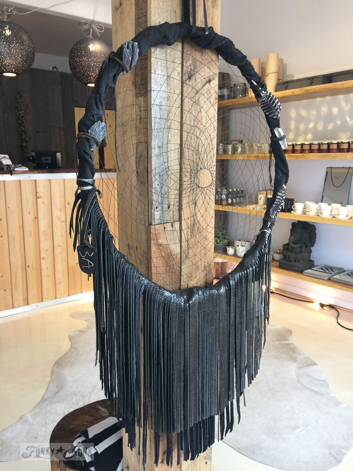 Black leather dream catcher in Driftwood, a store in Makawao, Maui / funkyjunkinteriors.net