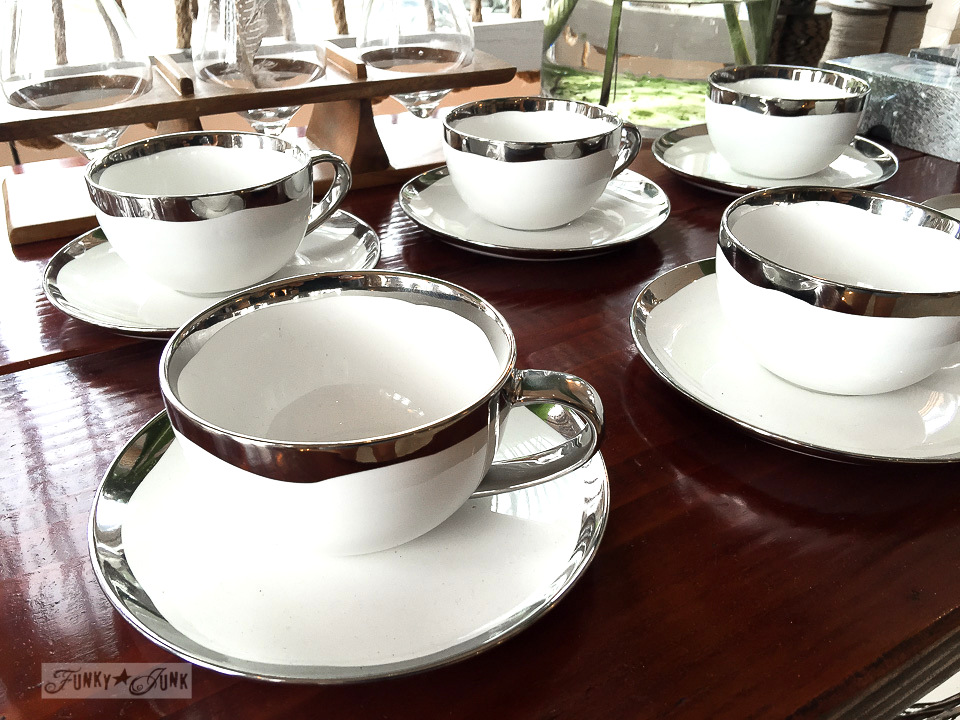 Silver rimmed cups and saucers in Driftwood, a store in Makawao, Maui / funkyjunkinteriors.net