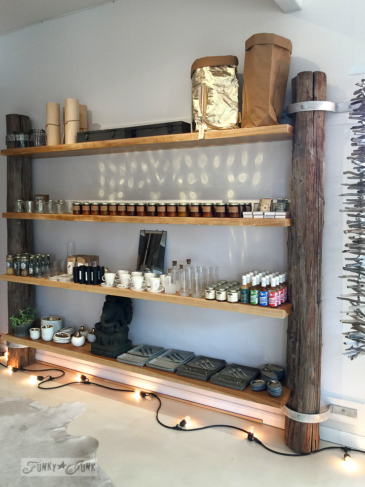 Rustic shelving with log ends in Driftwood, a store in Makawao, Maui / funkyjunkinteriors.net