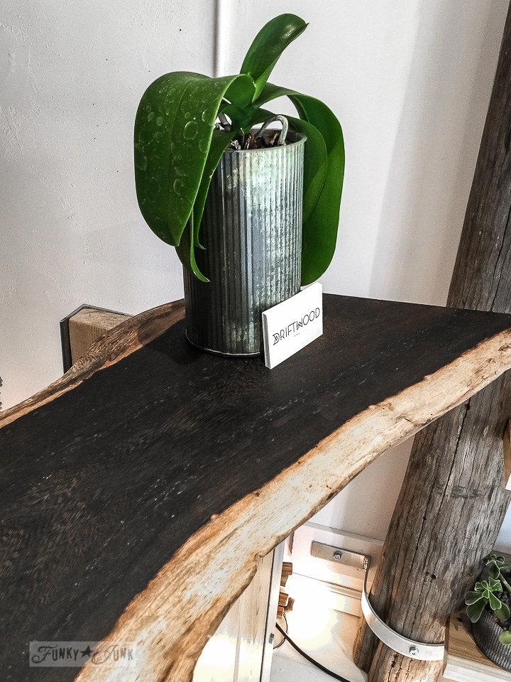 Ridged tin can planter and reclaimed wood desk top in Driftwood, a store in Makawao, Maui / funkyjunkinteriors.net