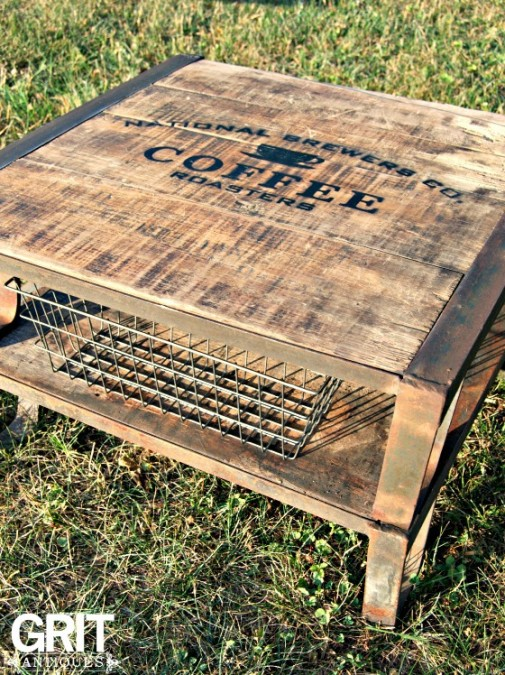 Pallet wood coffee tables by Grit Antiques,  featured on Funky Junk Interiors