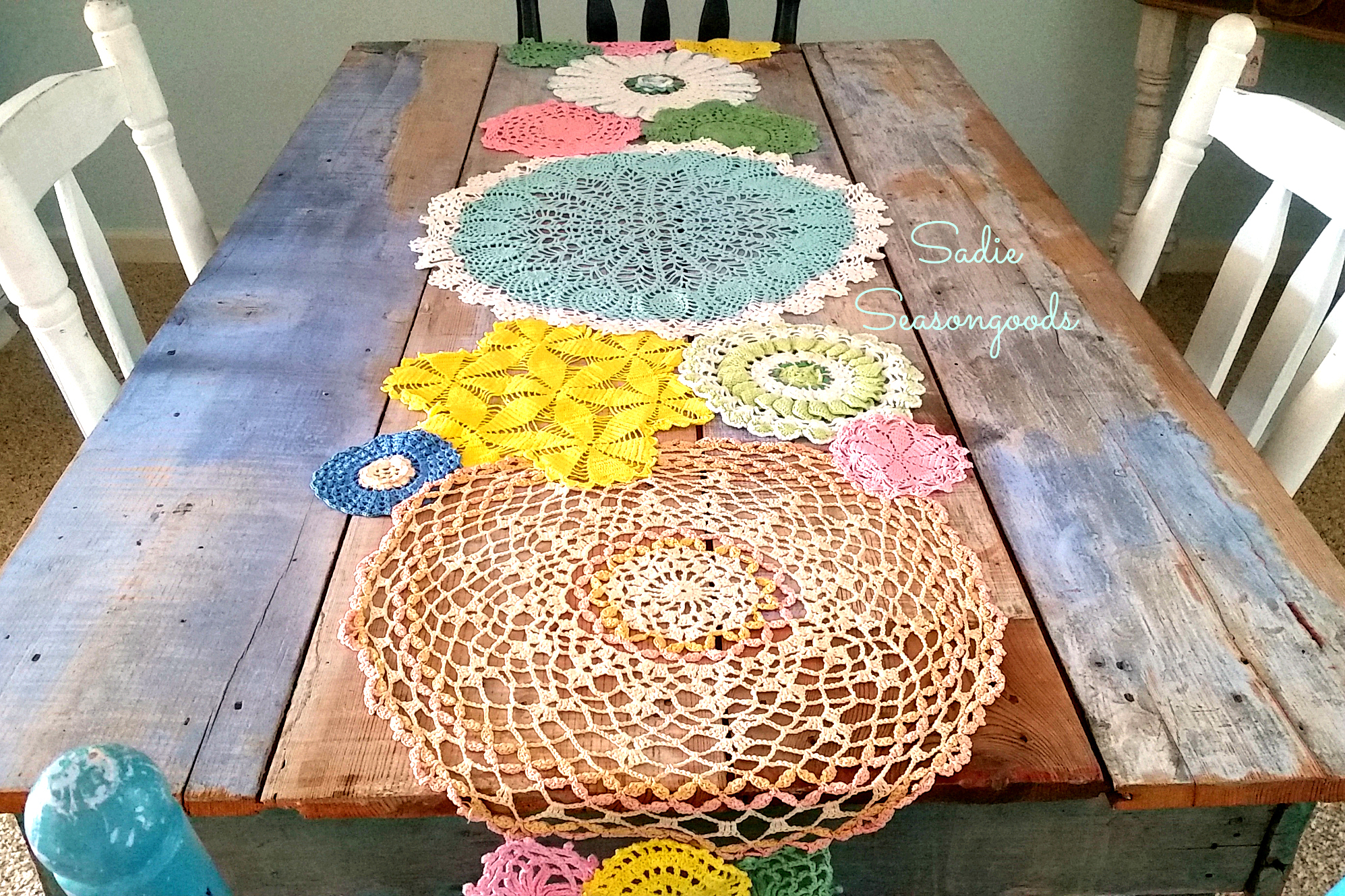 Spring Doily Table Runner, by Sadie Seasongoods, featured on Funky Junk Interiors