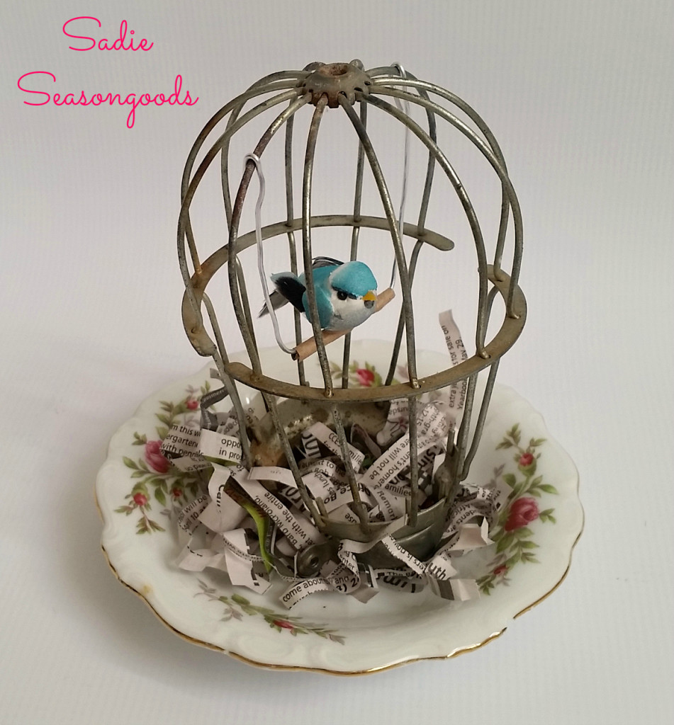 Industrial Light Cover Bird Cage by Sadie Seasongoods, featured on Funky Junk Interiors