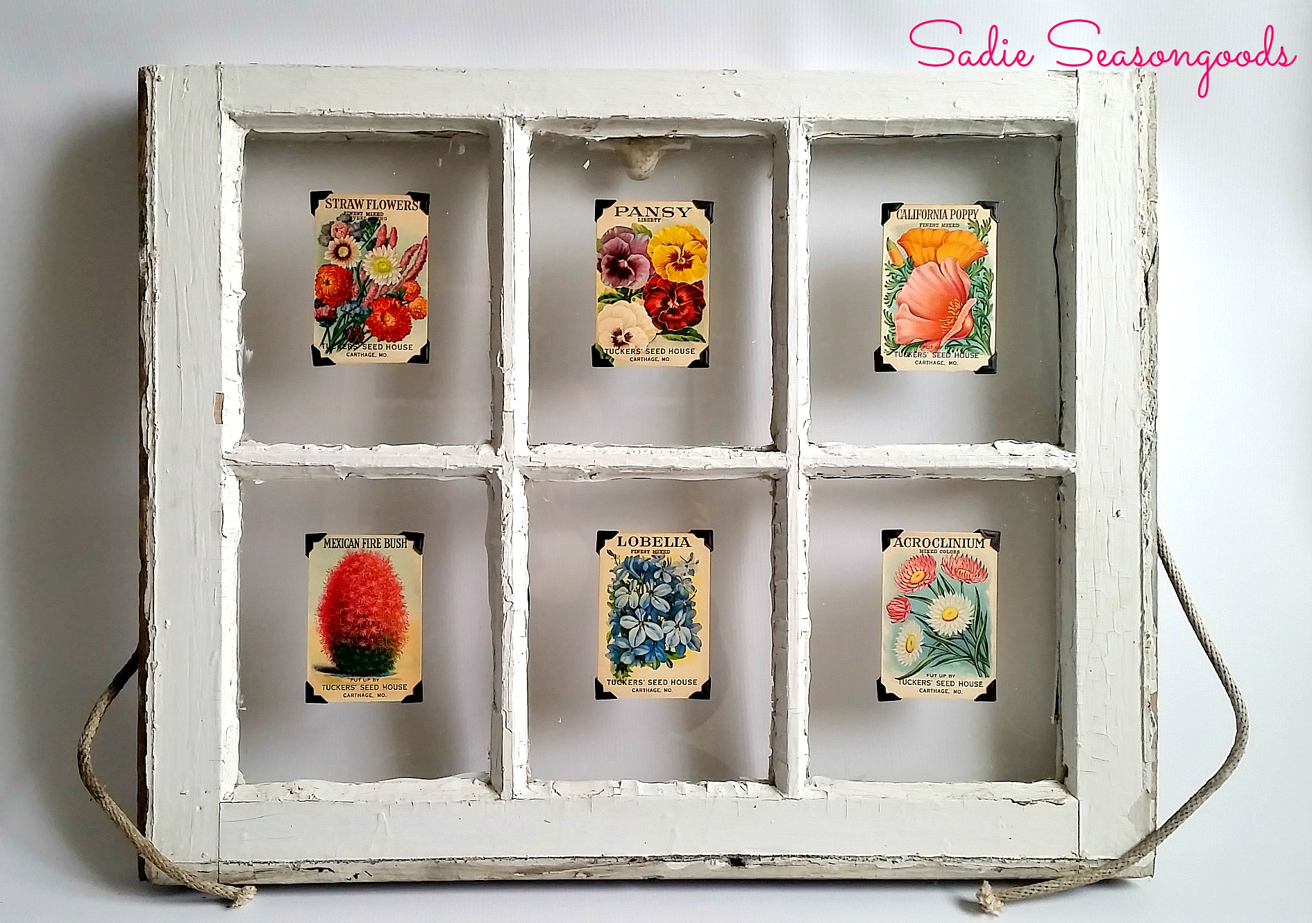 Vintage window seedpacket art, by Sadie Seasongoods, featured on Funky Junk Interiors