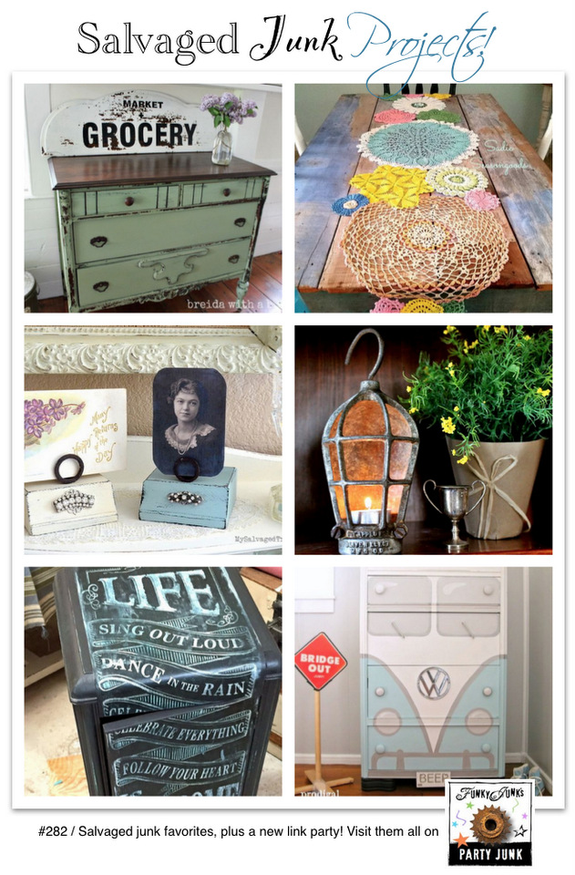 New Salvaged Junk Projects! Features and a new link party, on funkyjunkinteriors.net