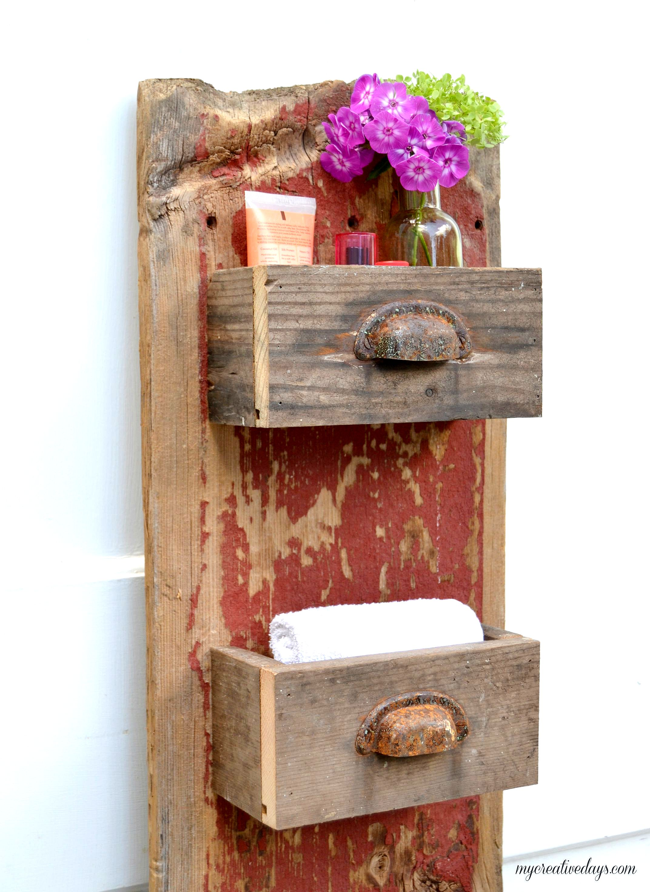 DIY drawer wall shelves by My Creative Days, featured on Funky Junk Interiors