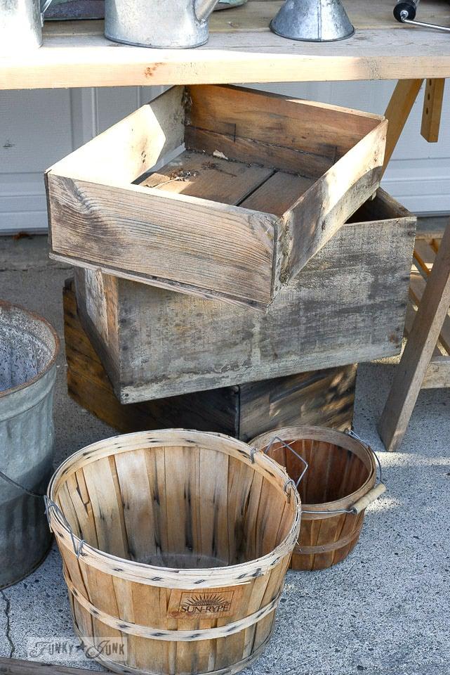 old crates and vintage apple baskets / funkjunkinteriors.net