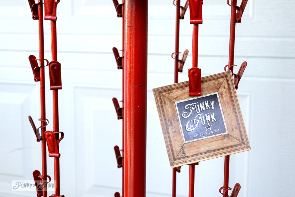 Red metal rack with clips / funkyjunkinteriors.net