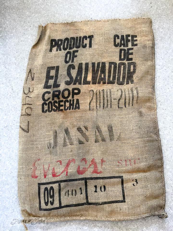 burlap coffee bean sack El Salvador / funkyjunkinteriors.net