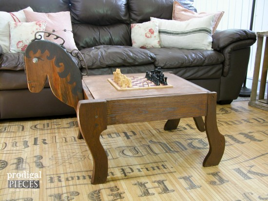 Repurposed rocking chair game table, by Prodigal Pieces,  featured on Funky Junk Interiors