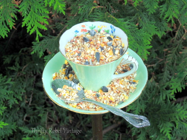 Teacup Bird Feeder by Thrifty Rebel Vintage, featured on Funky Junk Interiors