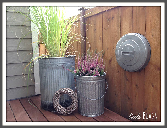 Trash can planters by Little Brags, featured on Funky Junk Interiors
