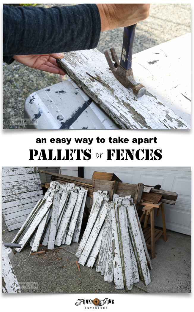 An easy way to take apart pallets or fences without fancy tools / funkyjunkinteriors.net