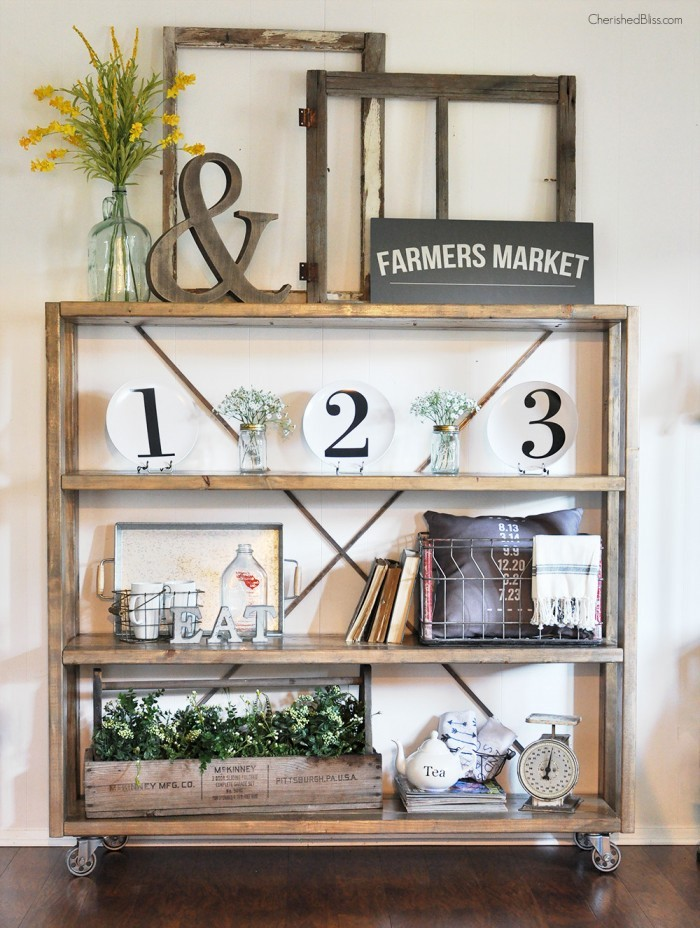 Rustic bookshelf decor, by Cherished Bliss, featured on Funky Junk Interiors