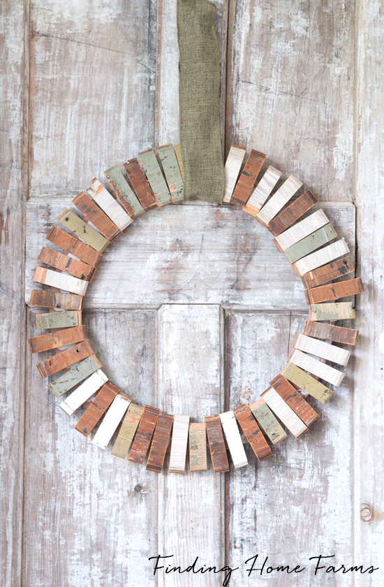 Scrap wood wreath by Finding Home Farms, featured on Funky Junk Interiors