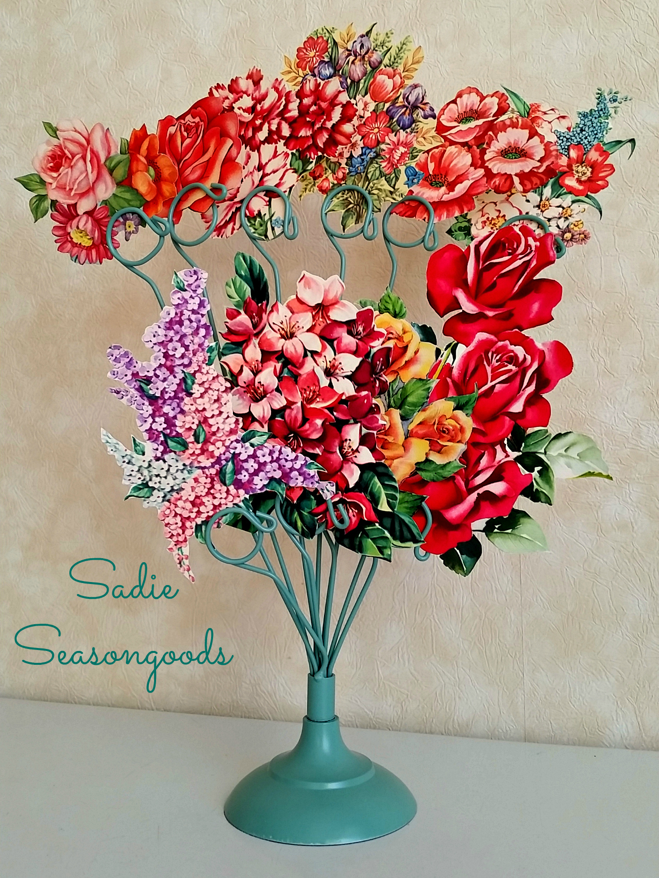 Vintage Greeting Card Flower Faux-quet, by Sadie Seasongoods, featured on Funky Junk Interiors