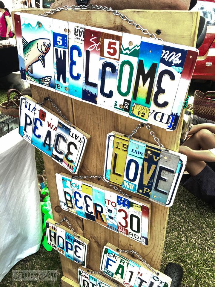License plate sign art at The Maui Swap Meet / funkyjunkinteriors.net