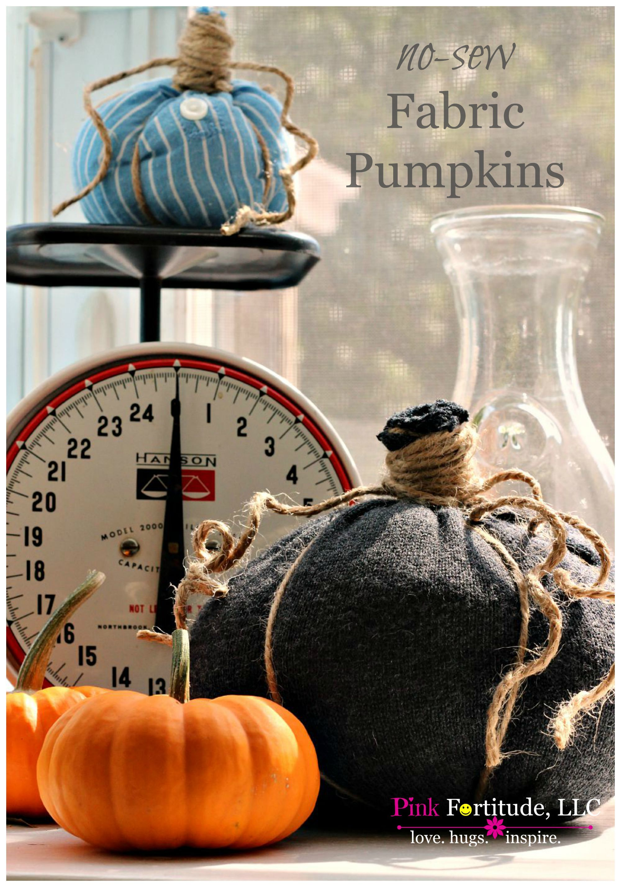 New Sew Fabric Shirt Pumpkins by coconutheadsurvivalguide.com, featured on Funky Junk Interiors