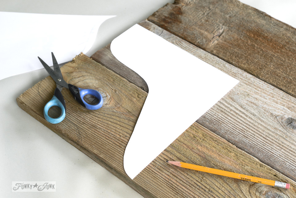 Cutting a pattern for / Reclaimed wood cutting board Apple Farm tray / funkyjunkinteriors.net