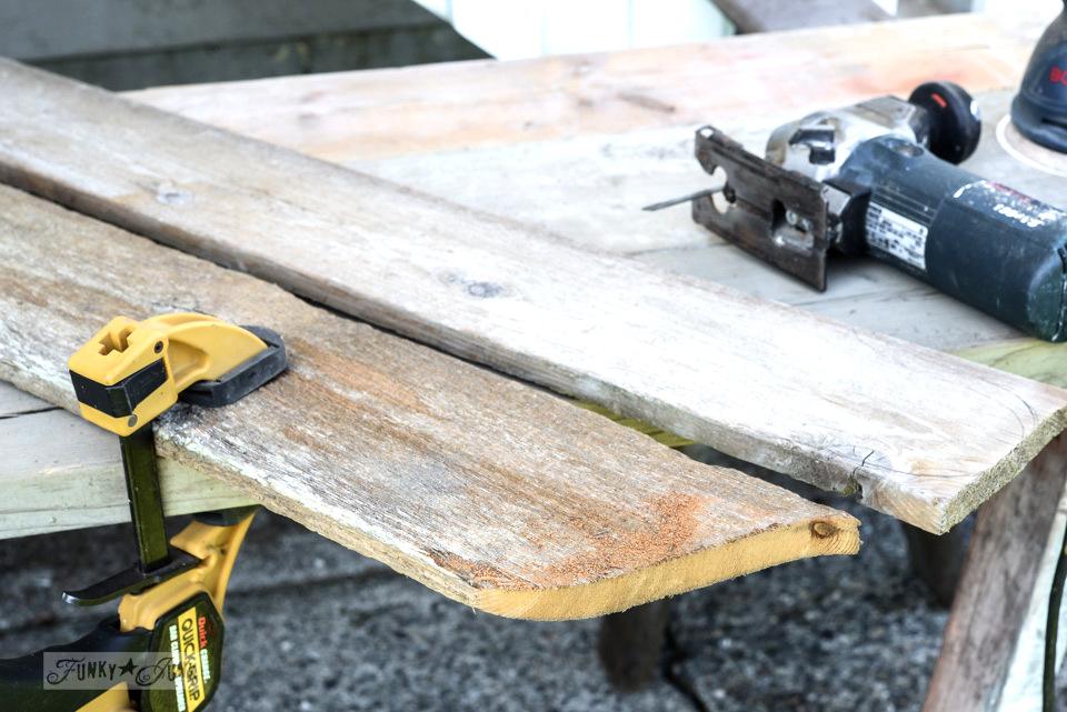 Clamped wood for jigsaw cutting / Reclaimed wood cutting board Apple Farm tray / funkyjunkinteriors.net