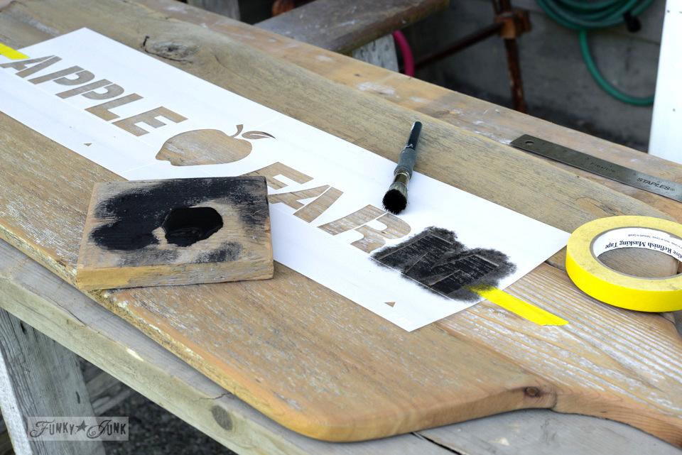 Stencilling Apple Farm on / Reclaimed wood cutting board Apple Farm tray / funkyjunkinteriors.net