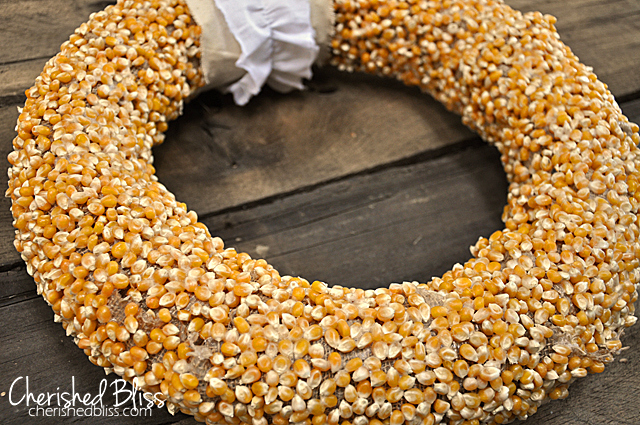 Popcorn kernel wreath by Cherished Bliss, featured on Funky Junk Interiors
