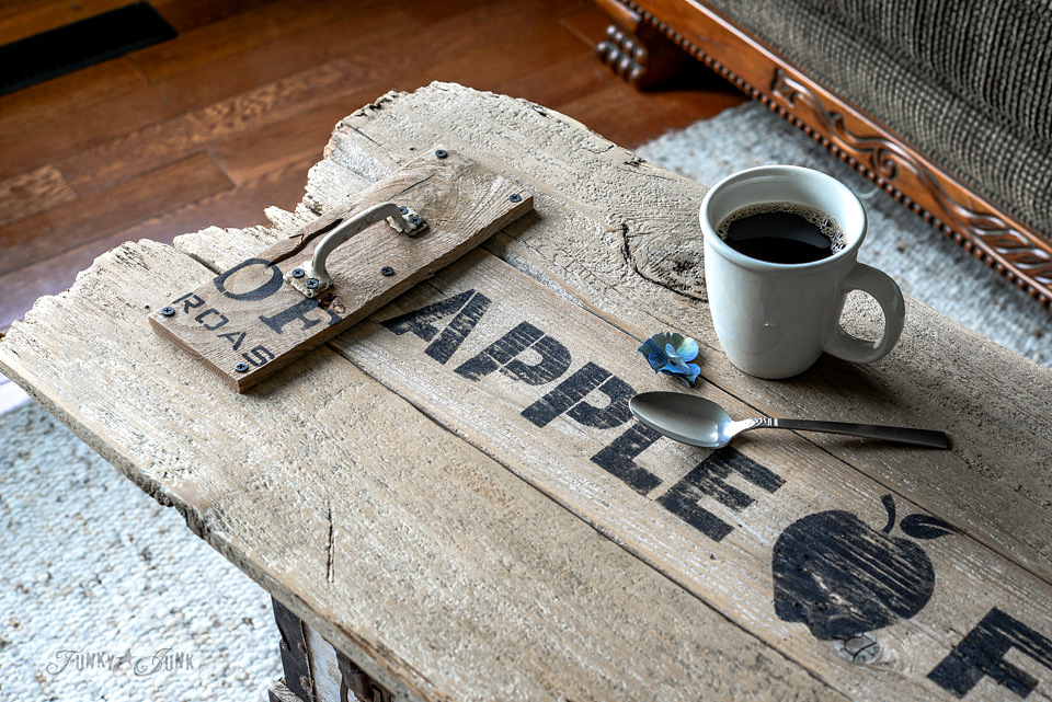 Reclaimed wood cutting board Apple Farm tray as a coffee table top / funkyjunkinteriors.net