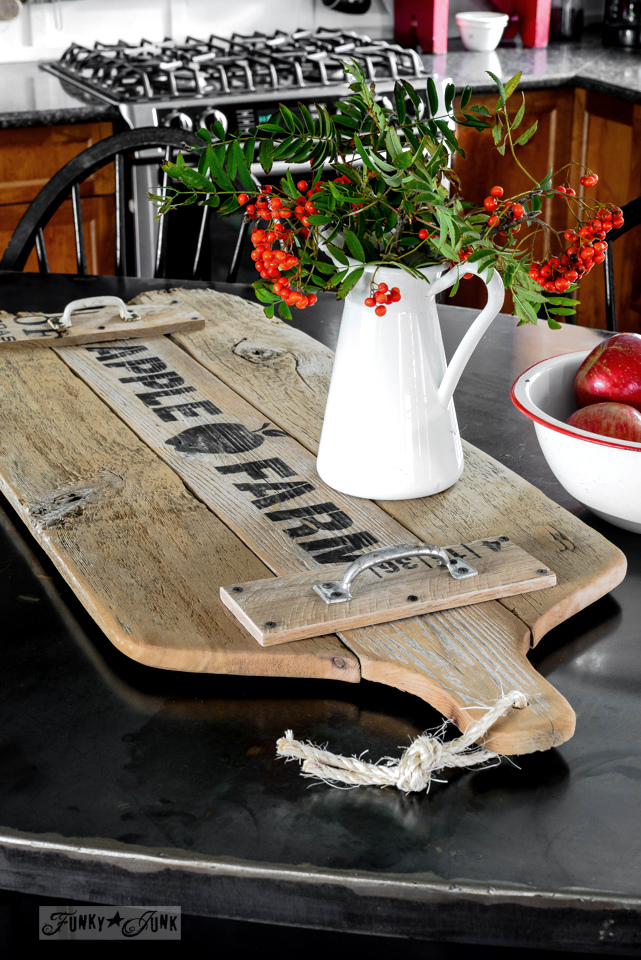 Oversized apple farm cutting board tray / funkyjunkinteriors.net