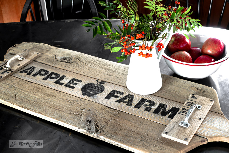 Reclaimed wood cutting board Apple Farm tray / funkyjunkinteriors.net