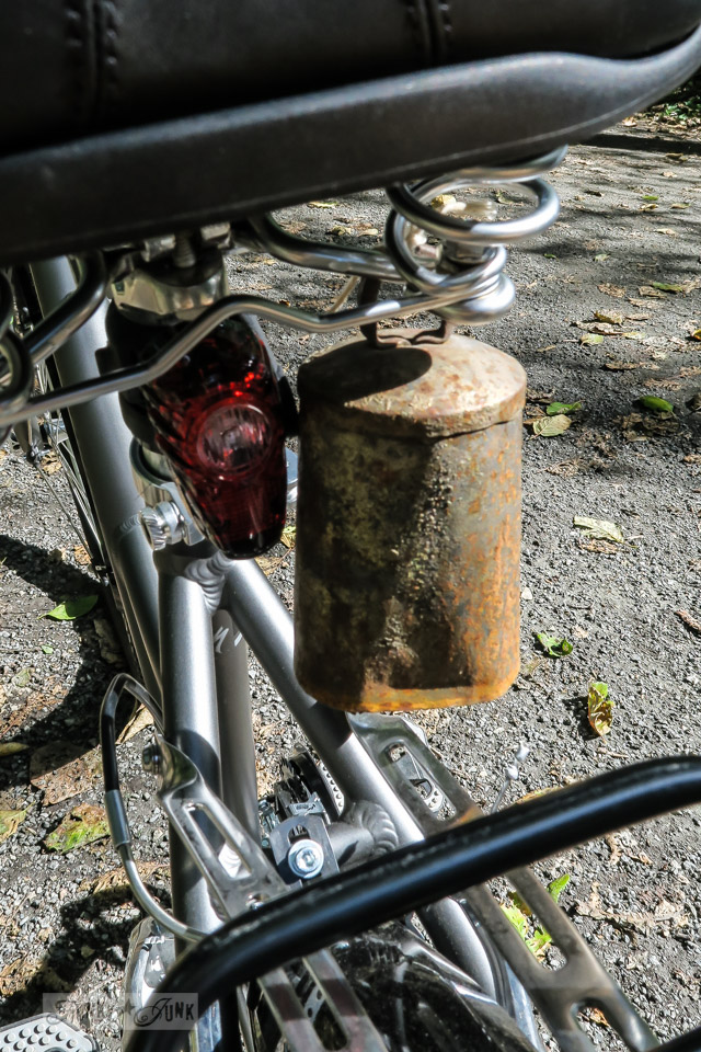 Why I use a free hanging bell used as a bike bell along the trails.