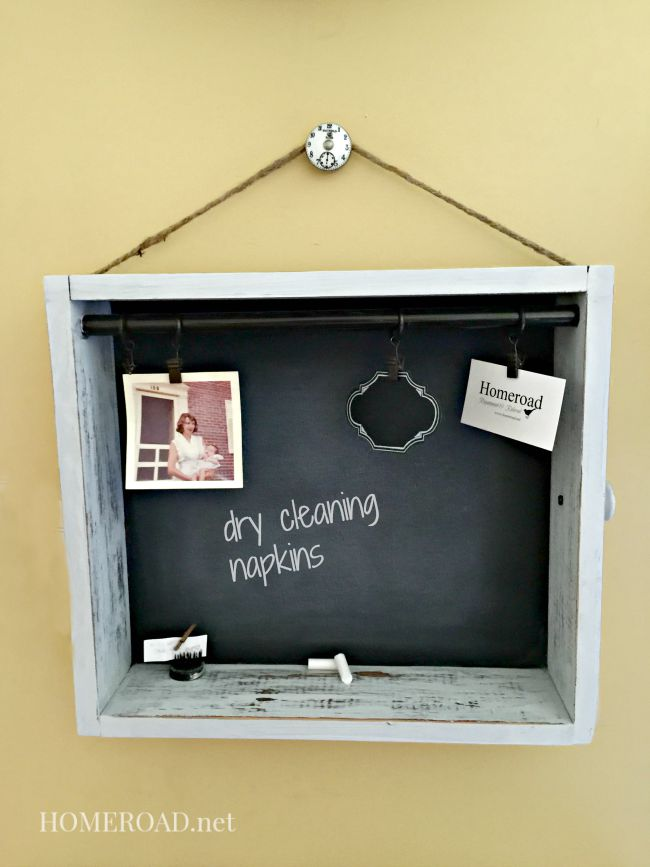 chalkboard drawer message center, by Homeroad, featured on Funky Junk Interiors