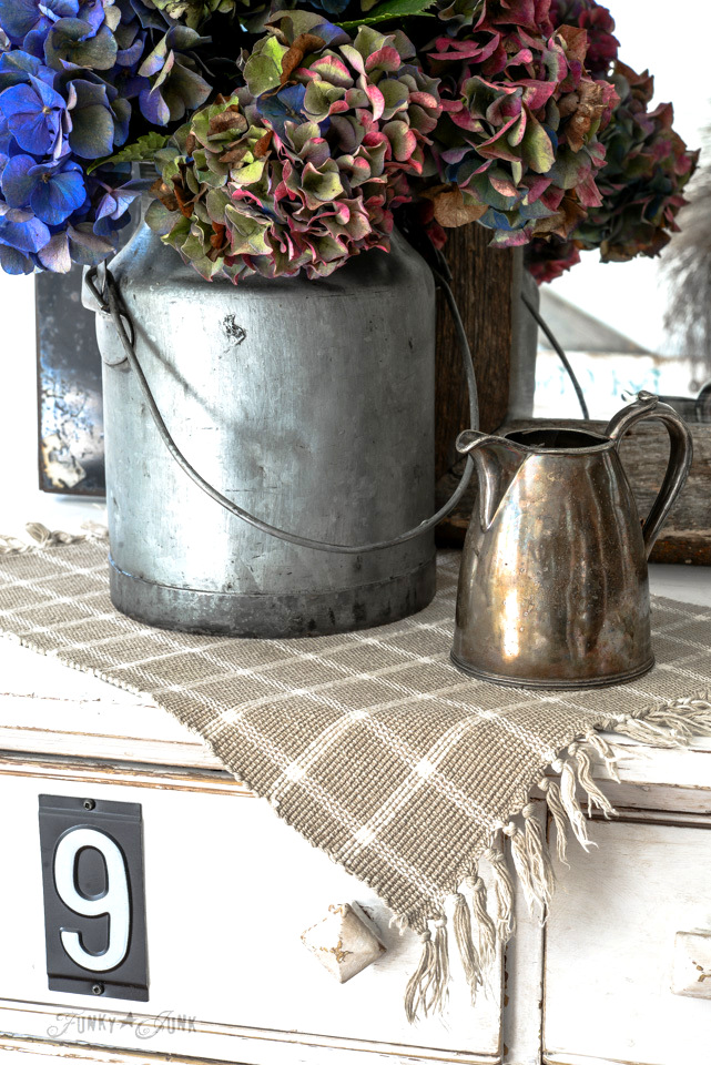 fall hydrangeas in a milk bucket / funkyjunkinteriors.net