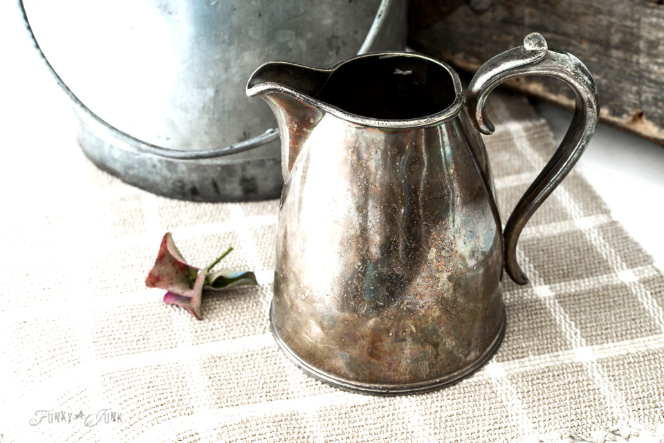 silver antique creamer with a fall vignette / funkyjunkinteriors.net