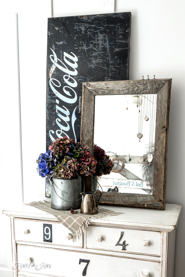 A fall hydrangea dressed up dresser in a milk bucket / funkyjunkinteriors.net