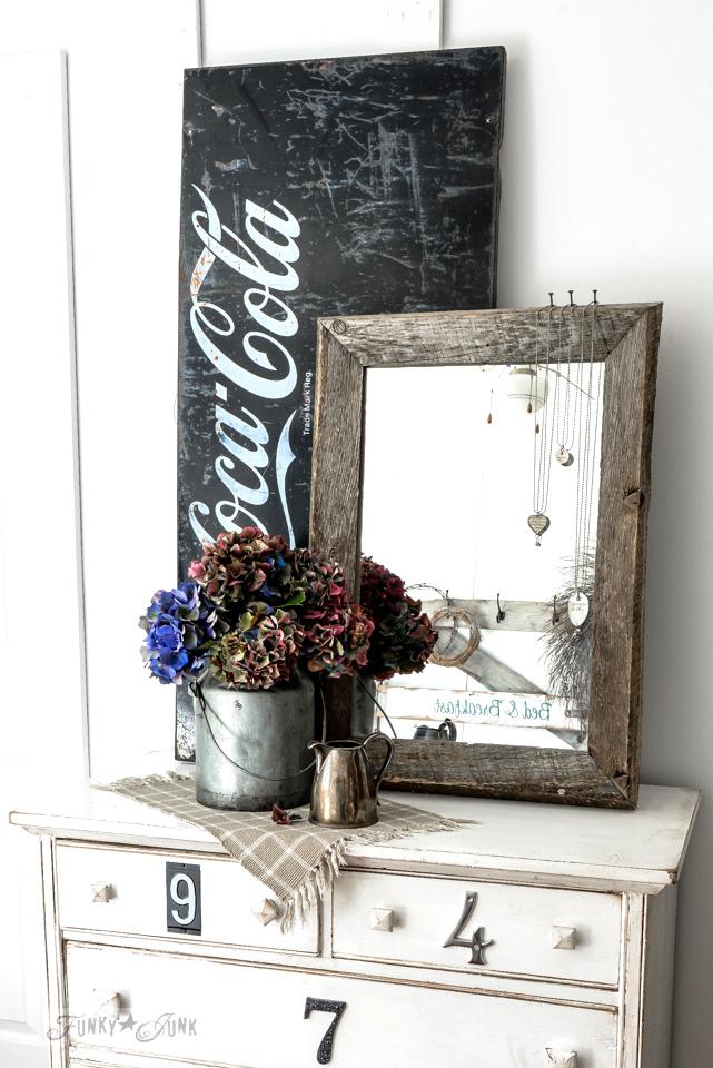 Hydrangea dresser and mirror vignette by funkyjunkinteriors.net