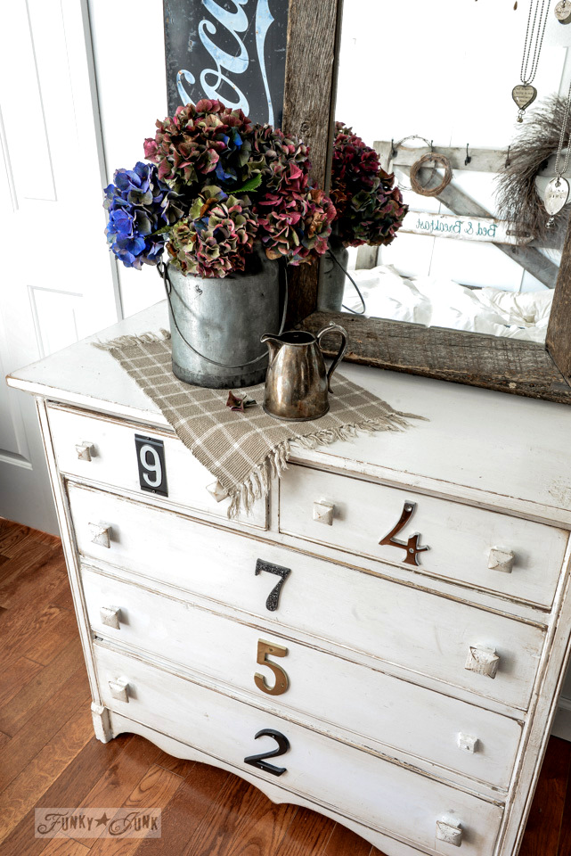 A hydrangea dressed up dresser with jewelry mirror / funkyjunkinteriors.net